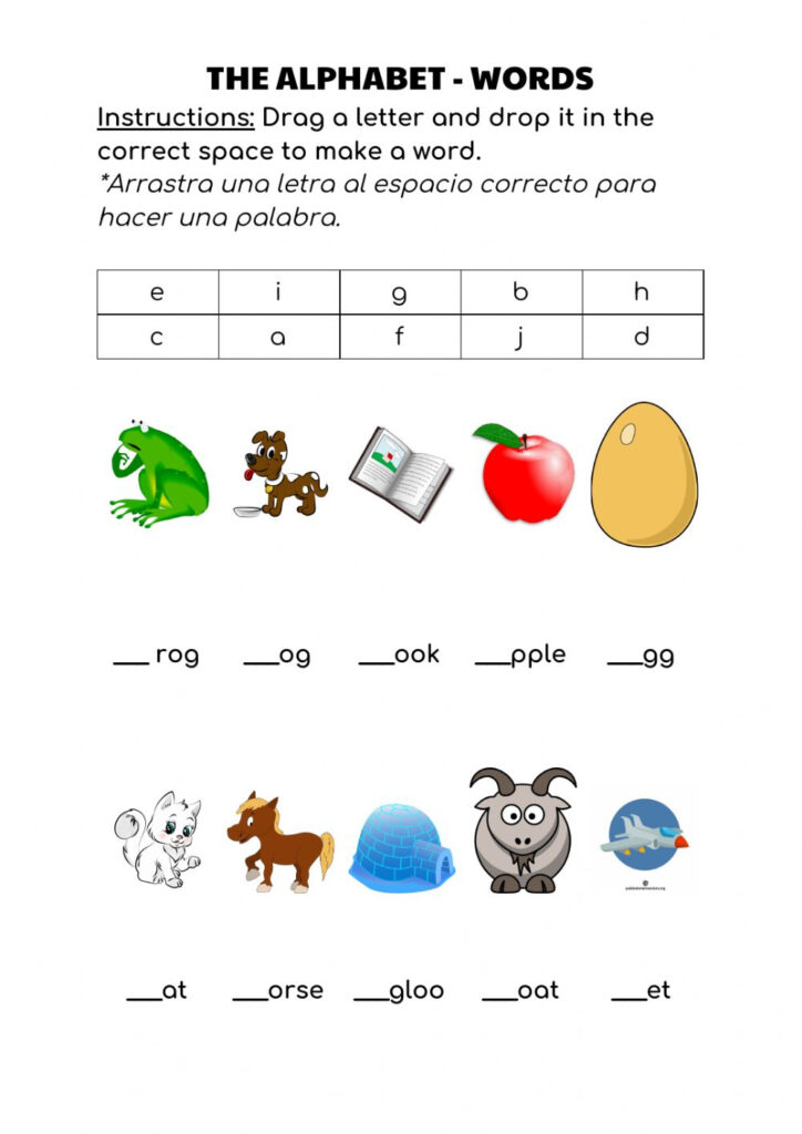 The Alphabet   Words   Interactive Worksheet Inside Alphabet Words Worksheets