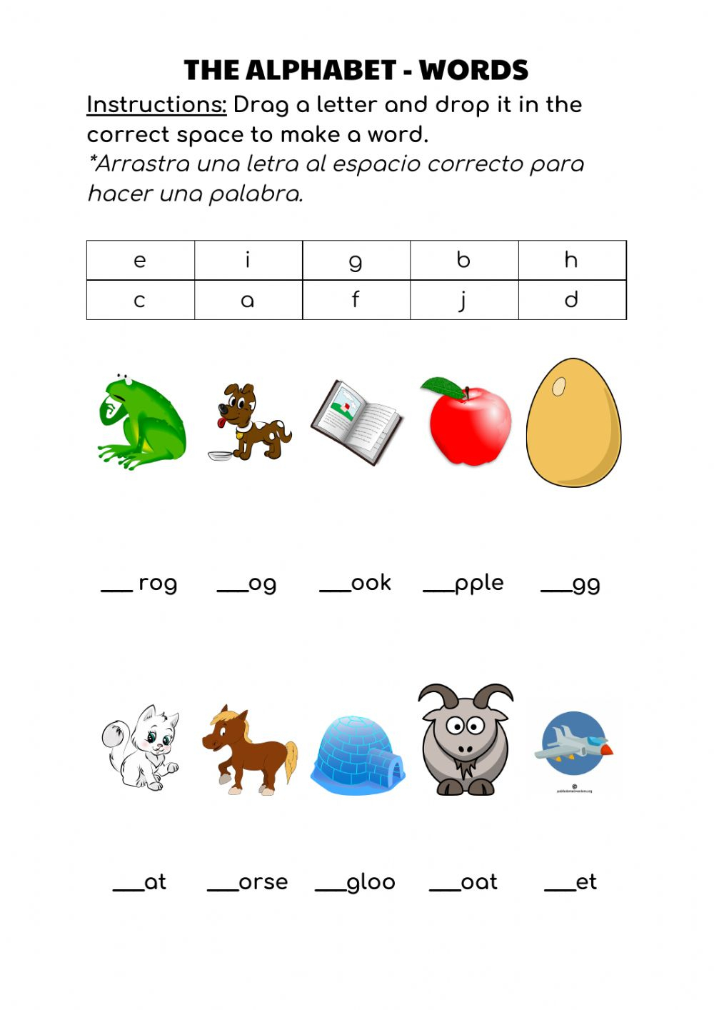 The Alphabet - Words - Interactive Worksheet inside Alphabet Words Worksheets