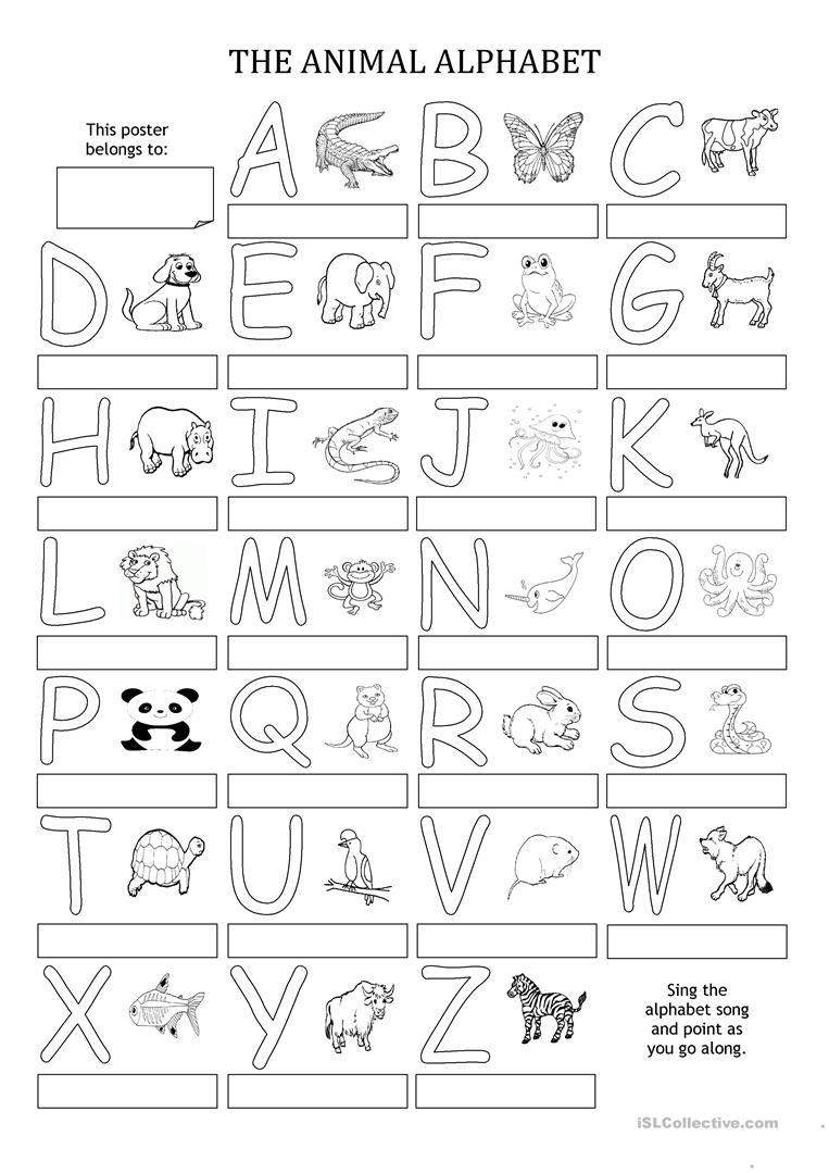 The Animal Alphabet - Poster - English Esl Worksheets For intended for Alphabet Exercises Elementary