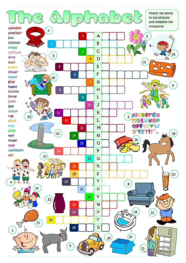 The English Alphabet - Crossword - English Esl Worksheets regarding Alphabet Worksheets For Esl Learners