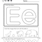 This Is A Fun Letter E Coloring Worksheet. Kids Can Color For Letter E Worksheets For Nursery