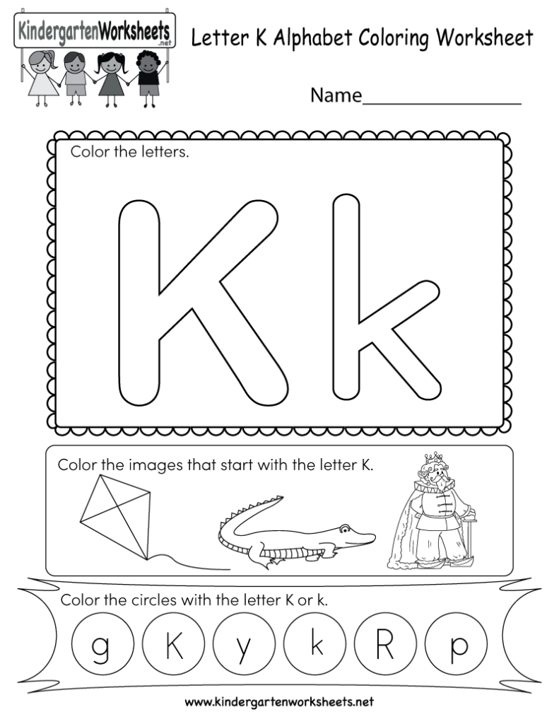 This Is A Fun Letter K Coloring Worksheet. Kids Can Color Throughout Alphabet Worksheets Kindergarten