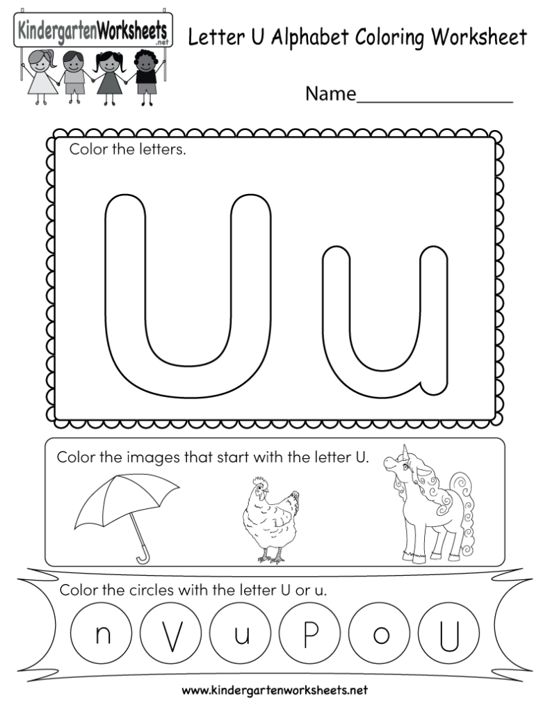 This Is A Letter U Coloring Worksheet. Children Can Color In U Letter Worksheets