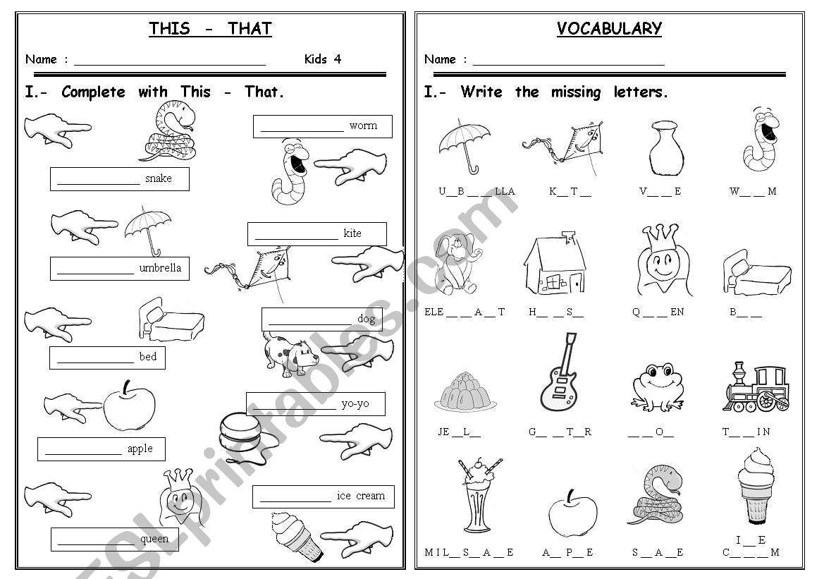 This - That / Alphabet Vocabulary - Esl Worksheetrealdream1 throughout Alphabet Vocabulary Worksheets