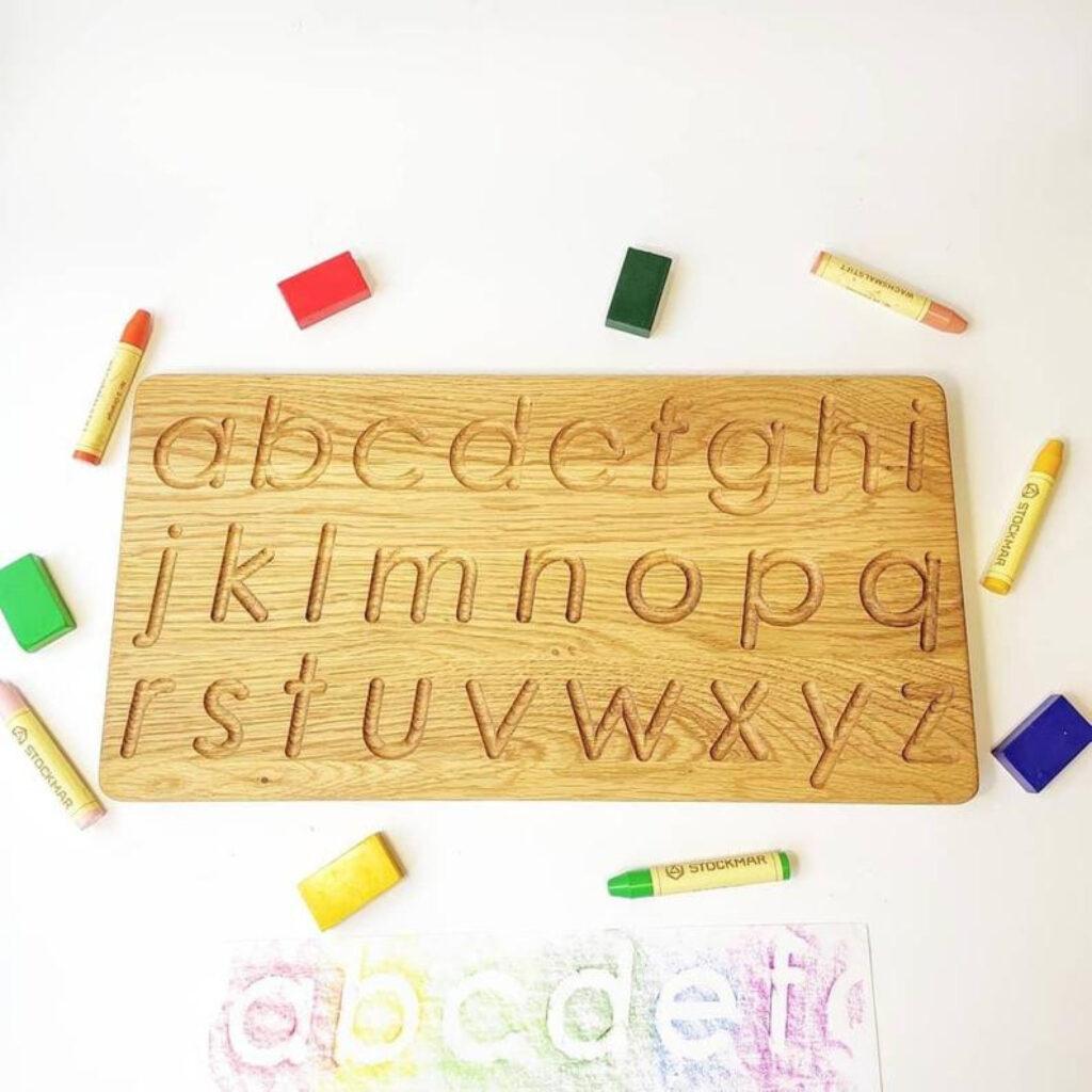 Three Wood   Lowercase Alphabet Tracing Board Pertaining To Alphabet Tracing Board