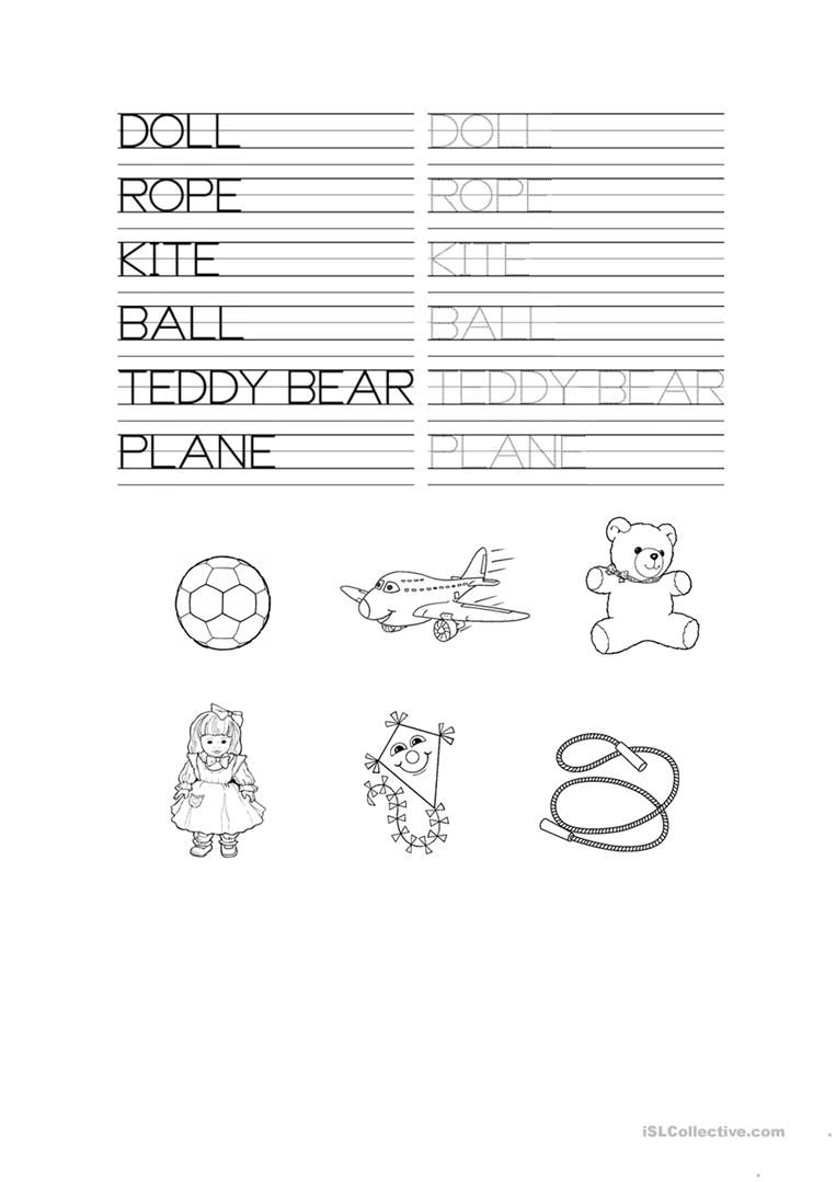 Toys Tracing Worksheet - English Esl Worksheets For Distance in Name Tracing And Copying Worksheets