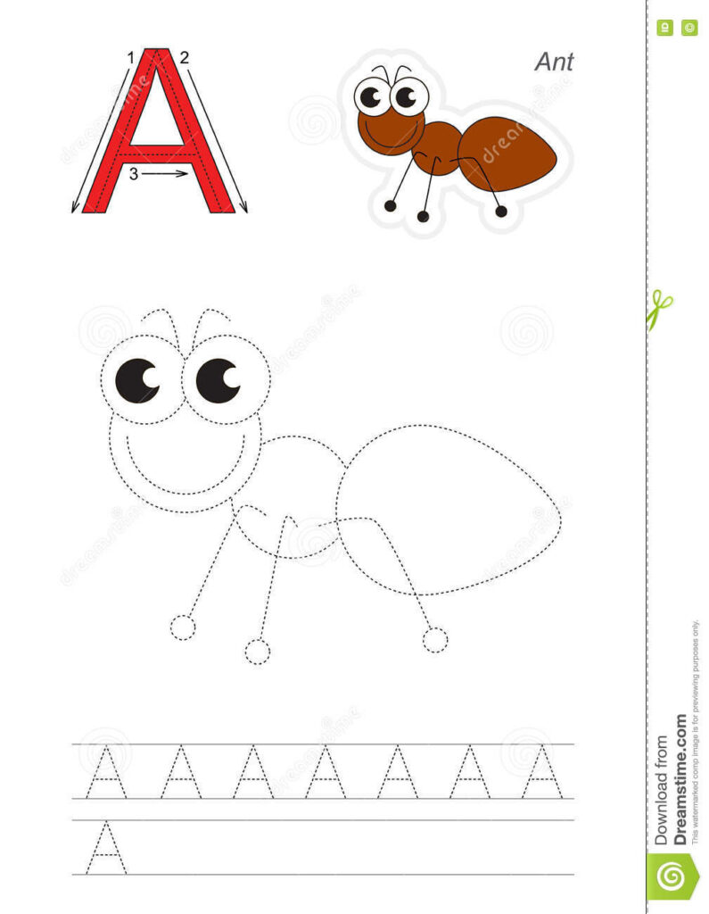 Trace Game For Letter A, Ant Stock Vector   Illustration Of Regarding Alphabet Tracing Game