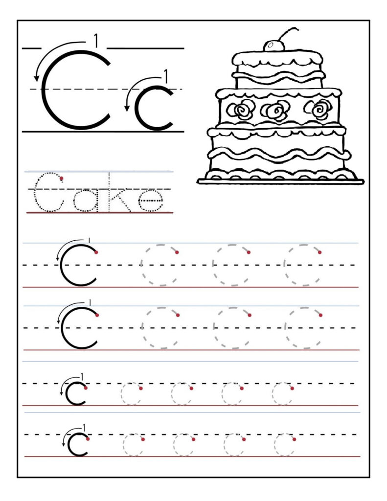 Trace Letter C Worksheets | Activity Shelter In Letter C Tracing Page