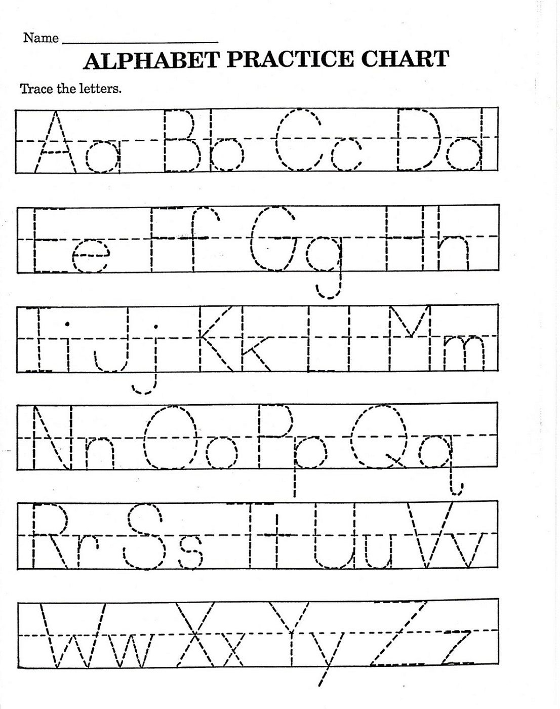 Trace Letter Worksheets Free | Printable Alphabet Worksheets inside Alphabet Tracing Chart