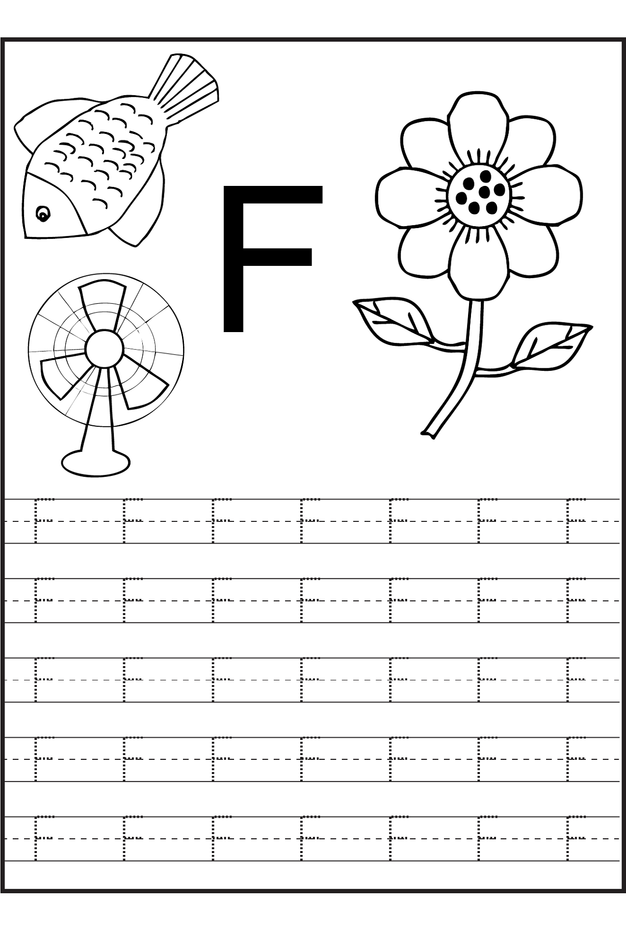 Trace The Letters Worksheets | Alphabet Writing Worksheets for Letter F Tracing Worksheets Preschool