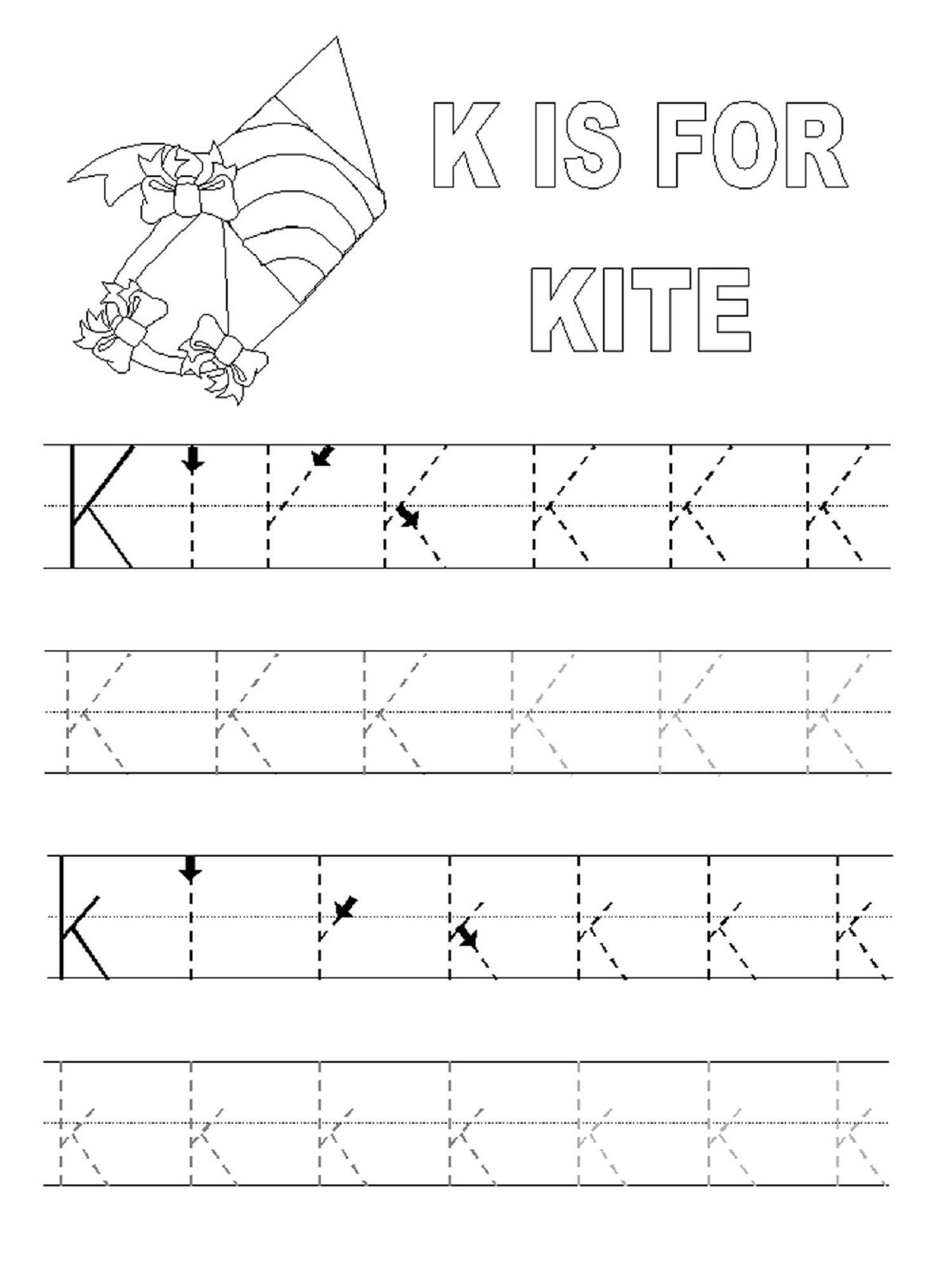 Traceable Alphabet For Learning Exercise | Dear Joya for Letter K Worksheets Twisty Noodle