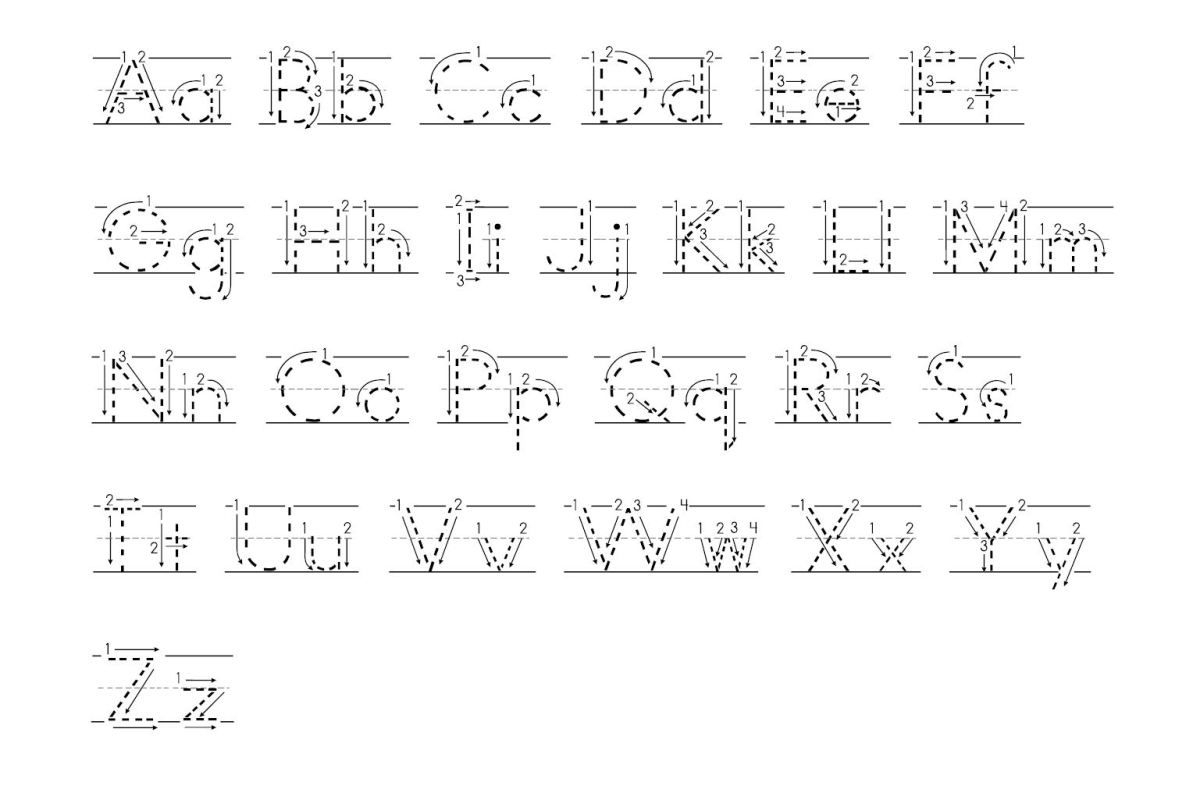 Tracing Abc With Arrows Dotted Print | Alphabet Tracing inside Alphabet Handwriting Worksheets With Arrows