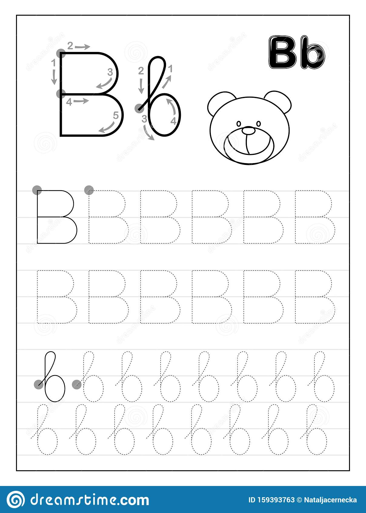Tracing Alphabet Letter B. Black And White Educational Pages intended for Letter B Worksheets For Kindergarten