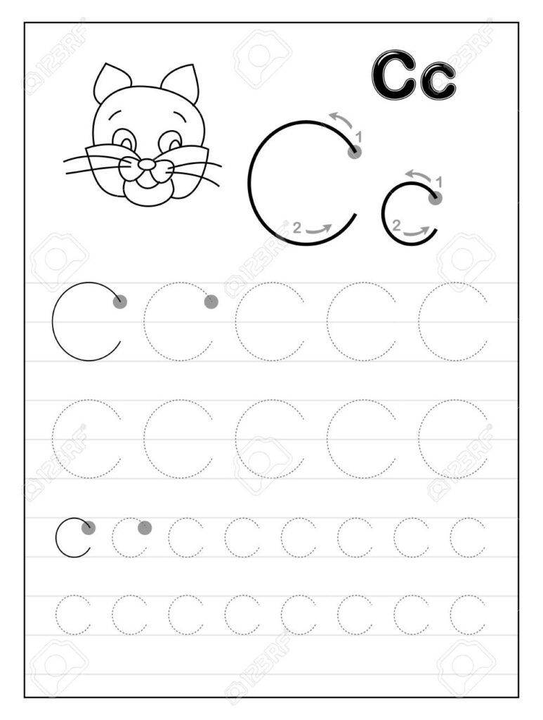 Tracing Alphabet Letter C. Black And White Educational Pages.. Inside Letter C Tracing Page
