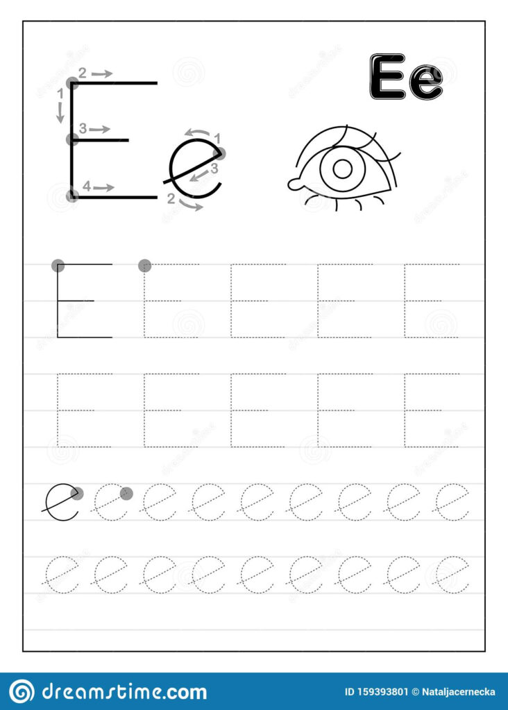 Tracing Alphabet Letter E. Black And White Educational Pages For Letter Tracing E