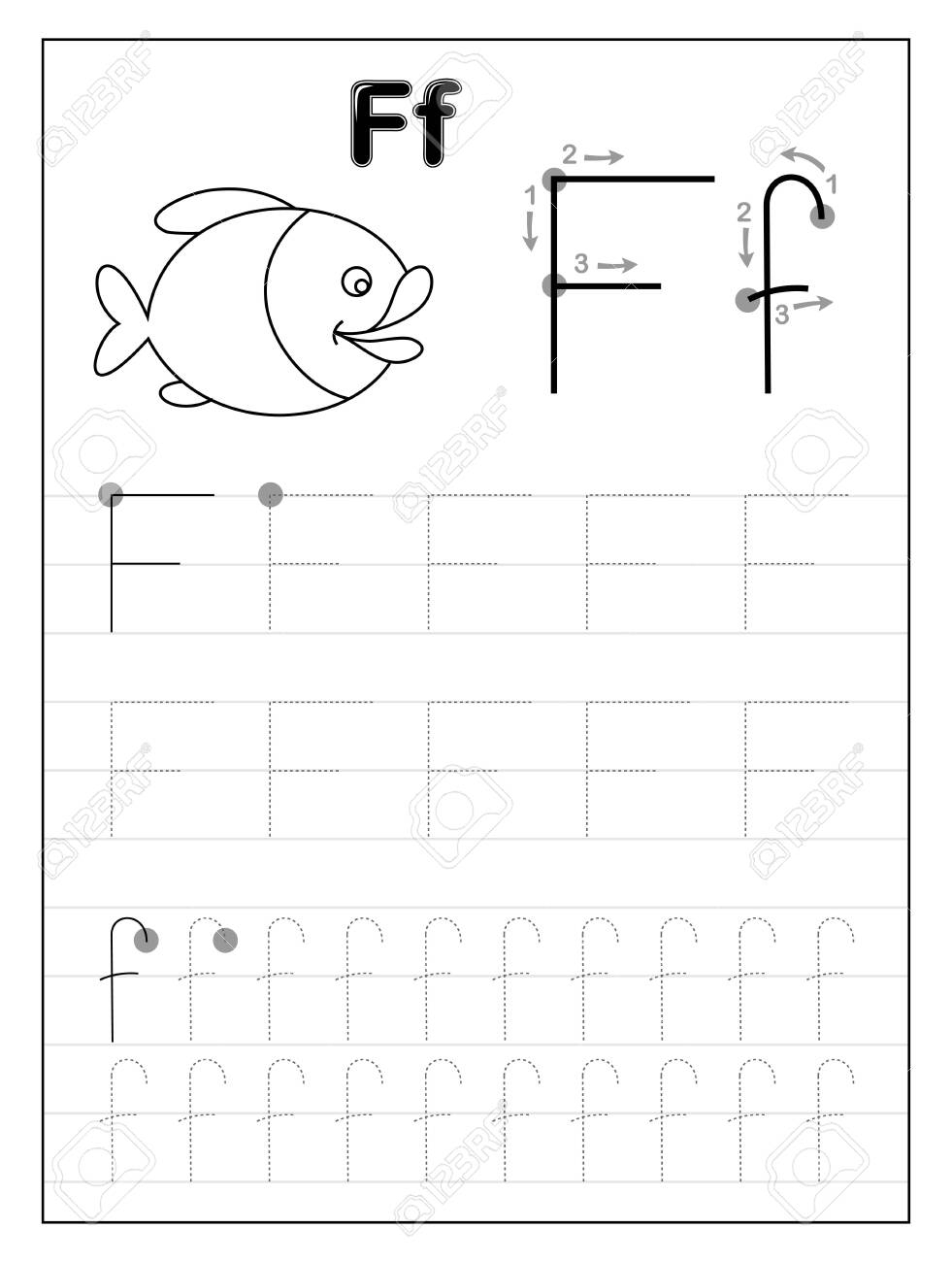 Tracing Alphabet Letter F. Black And White Educational Pages.. regarding F Letter Tracing