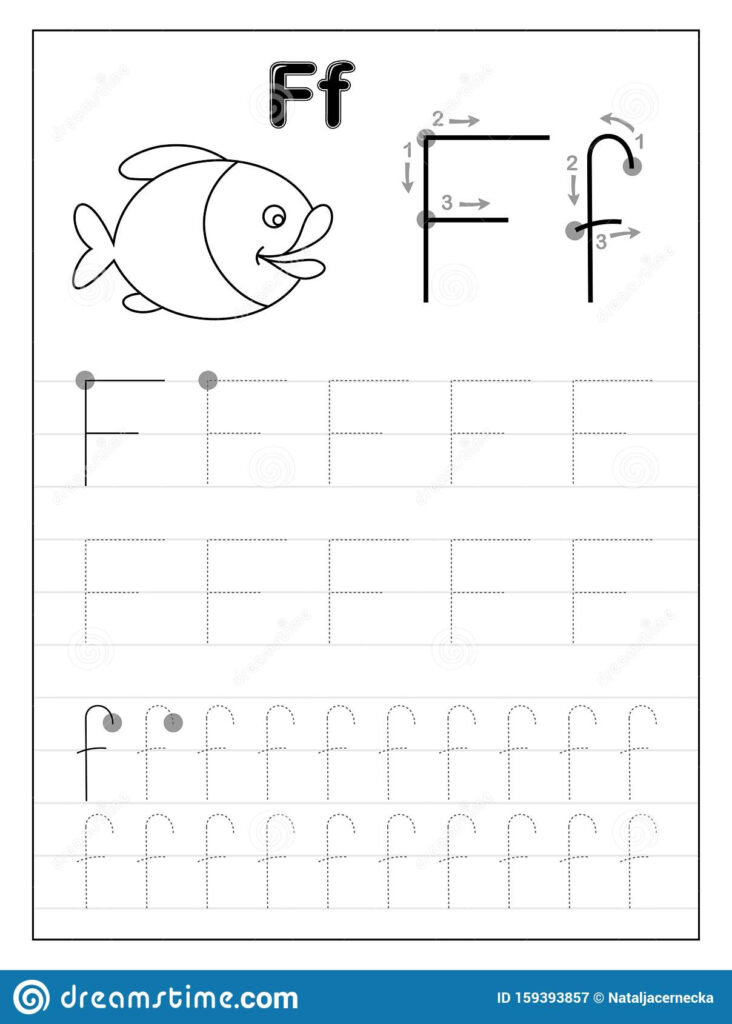 Tracing Alphabet Letter F. Black And White Educational Pages With Letter F Tracing Worksheets Preschool