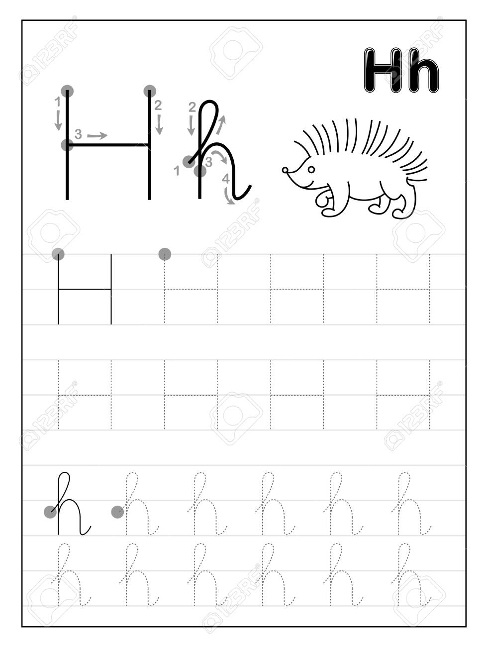 Tracing Alphabet Letter H. Black And White Educational Pages.. for Letter H Tracing Printable