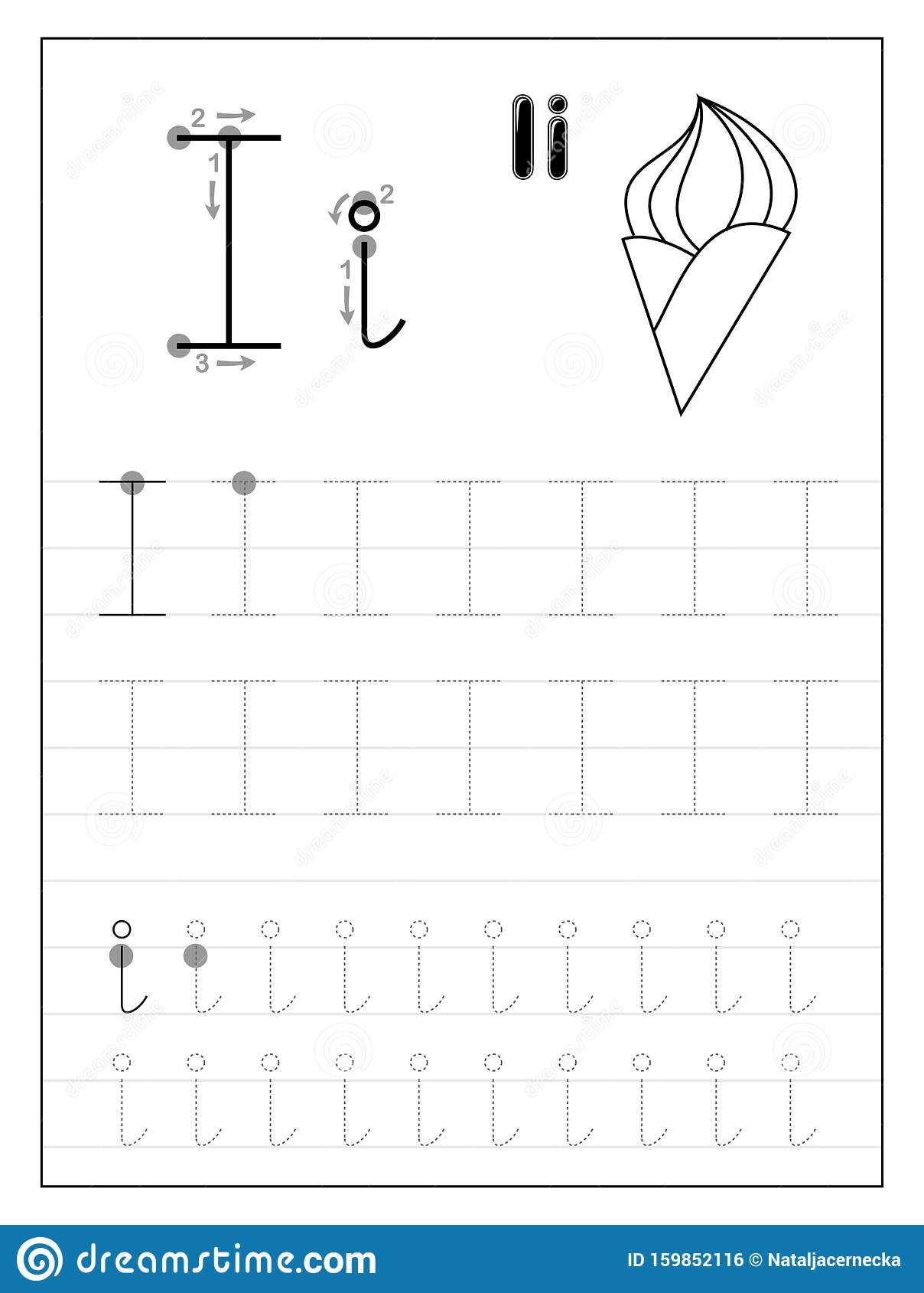 Tracing Alphabet Letter I. Black And White Educational Pages with Letter Tracing I