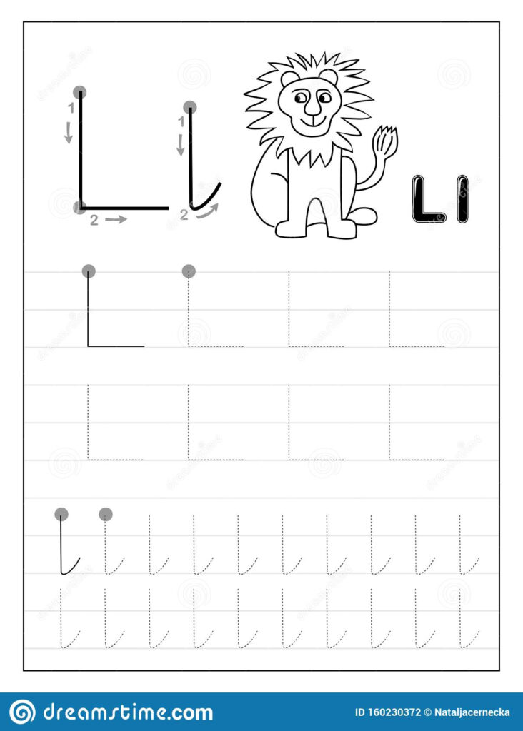 Tracing Alphabet Letter L. Black And White Educational Pages In Letter L Worksheets Tracing