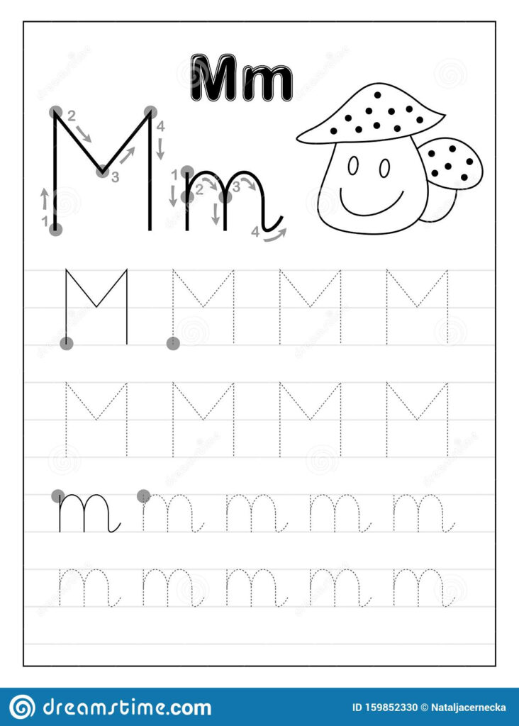 Tracing Alphabet Letter M. Black And White Educational Pages Inside Letter Tracing M