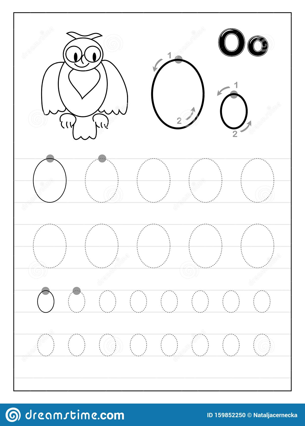 Tracing Alphabet Letter O. Black And White Educational Pages for Letter O Tracing Printable