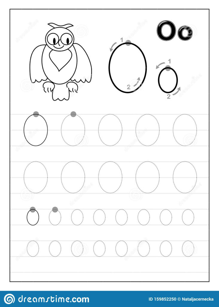 Tracing Alphabet Letter O. Black And White Educational Pages Regarding Alphabet O Tracing