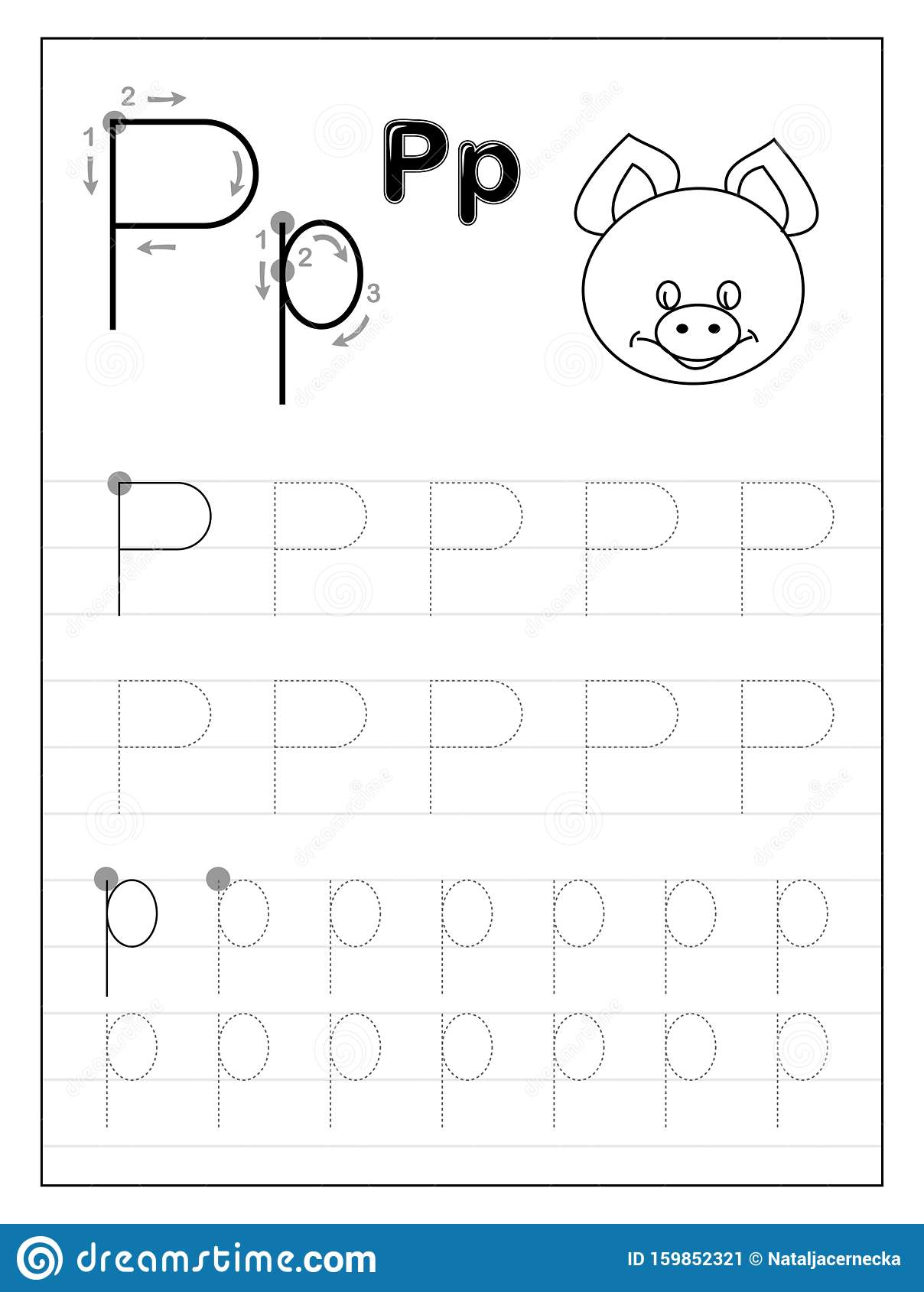 Tracing Alphabet Letter P. Black And White Educational Pages in Letter P Tracing Printable
