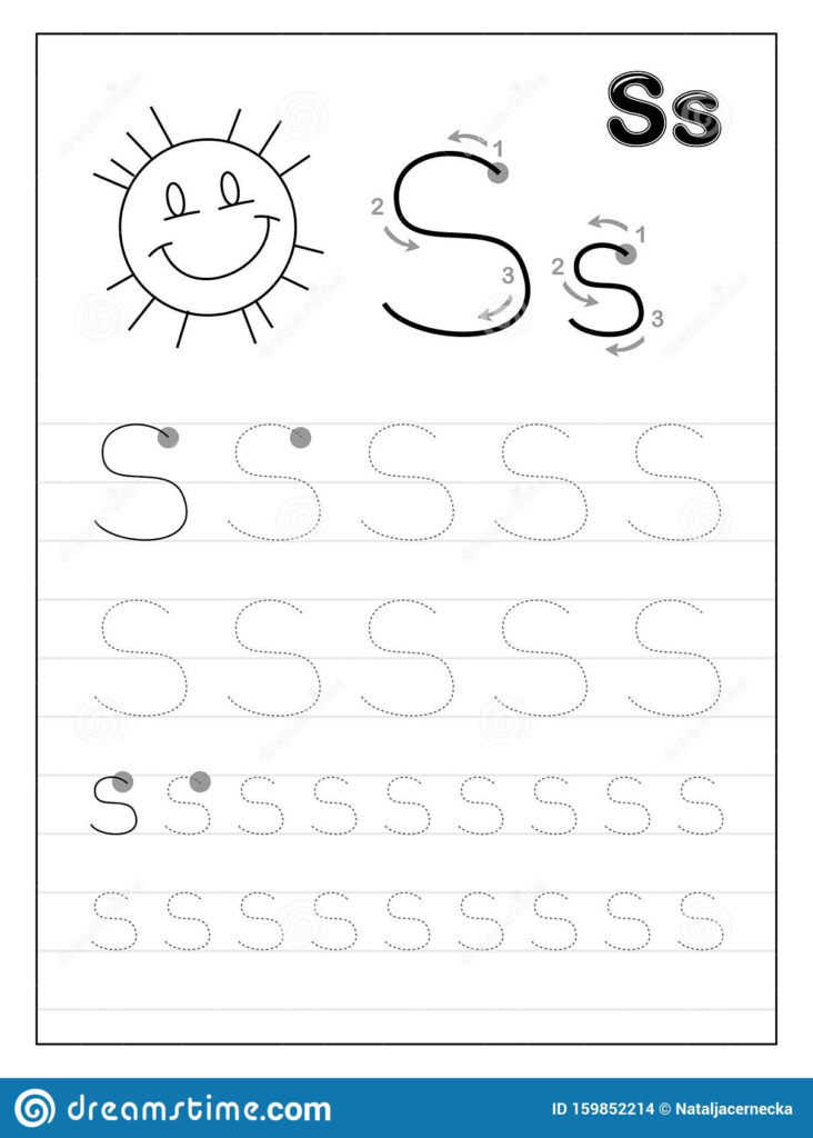Tracing Alphabet Letter S. Black And White Educational Pages With Alphabet S Tracing