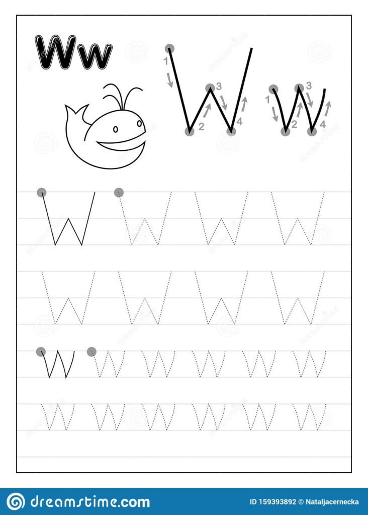 Tracing Alphabet Letter W. Black And White Educational Pages Inside Letter W Worksheets Printable