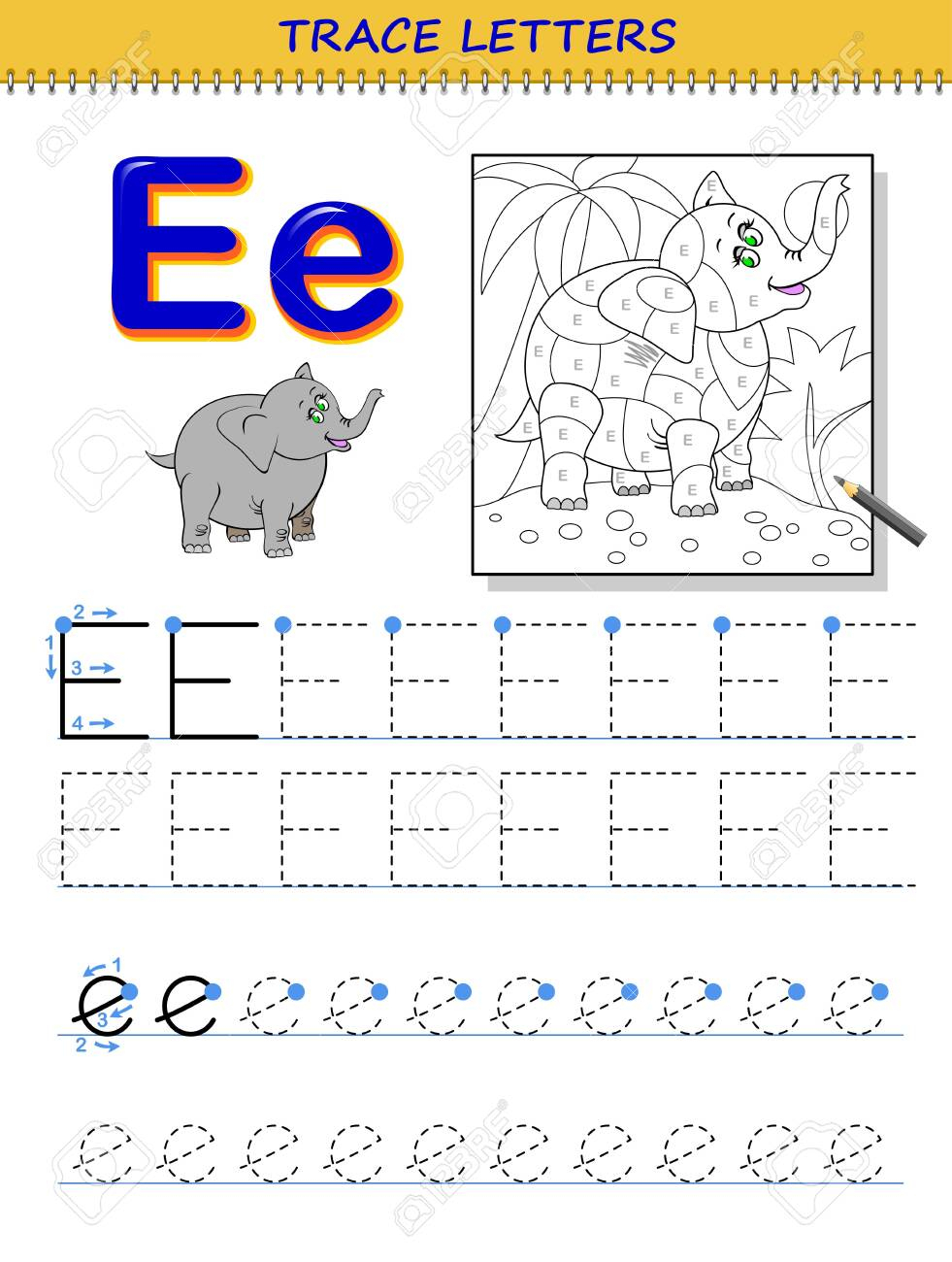 Tracing Letter E For Study Alphabet. Printable Worksheet For.. inside Letter E Worksheets Tracing