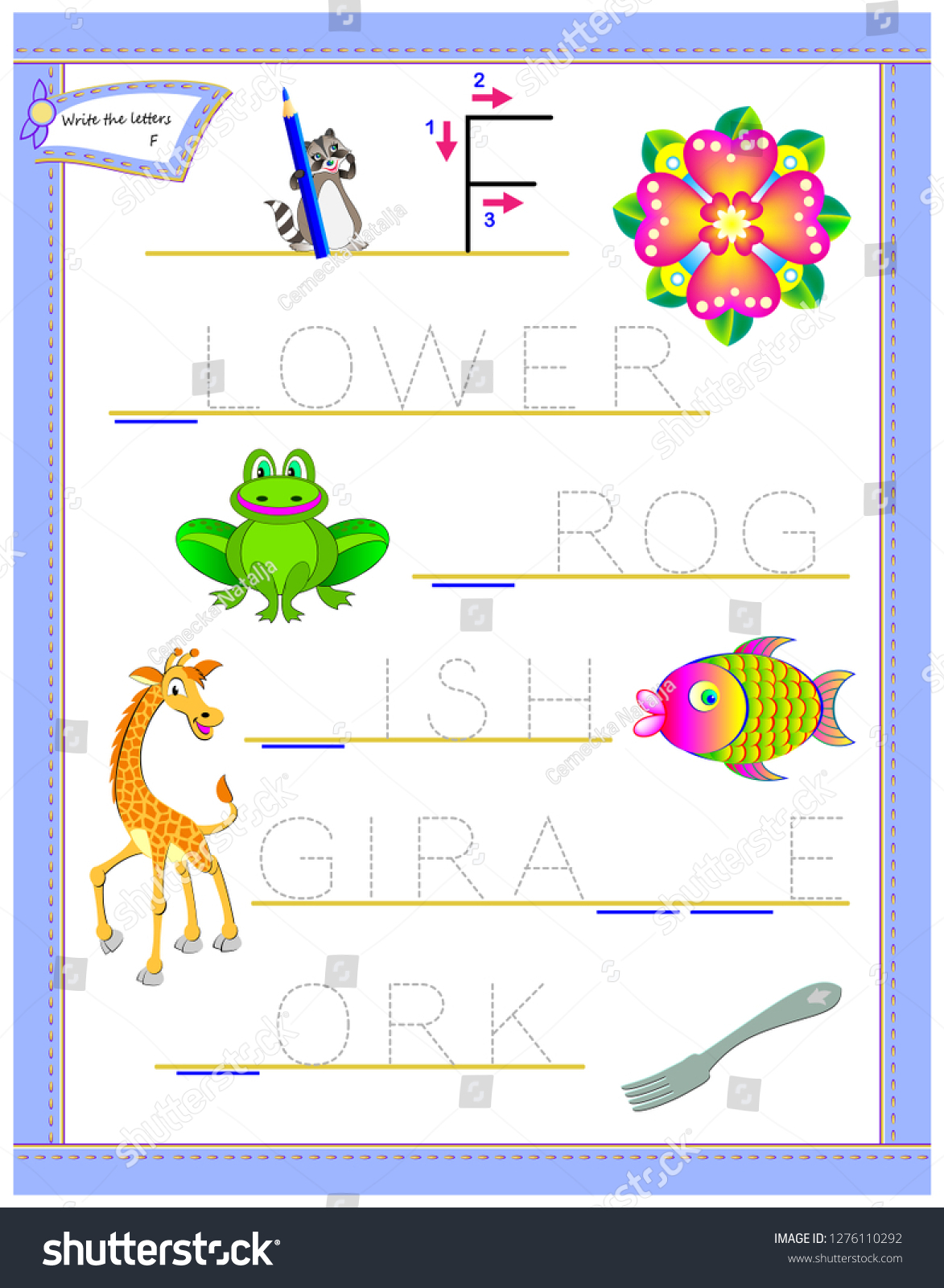 Tracing Letter F Study English Alphabet Arkivvektor for Alphabet Tracing Puzzle