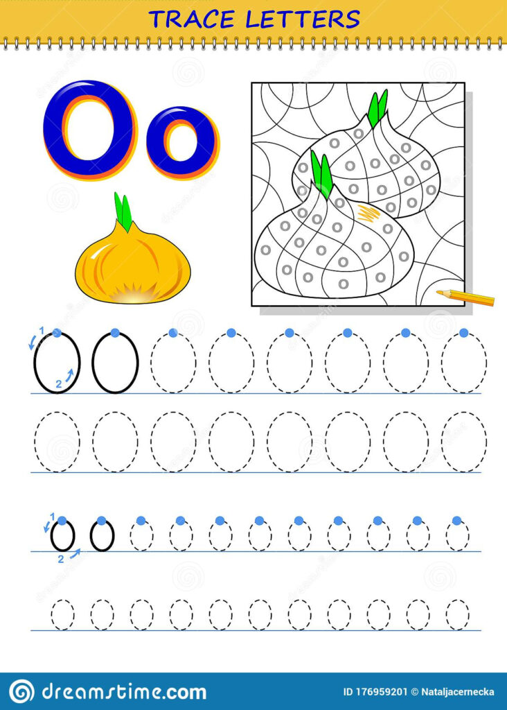 Tracing Letter O For Study Alphabet. Printable Worksheet For Intended For Letter O Tracing Page