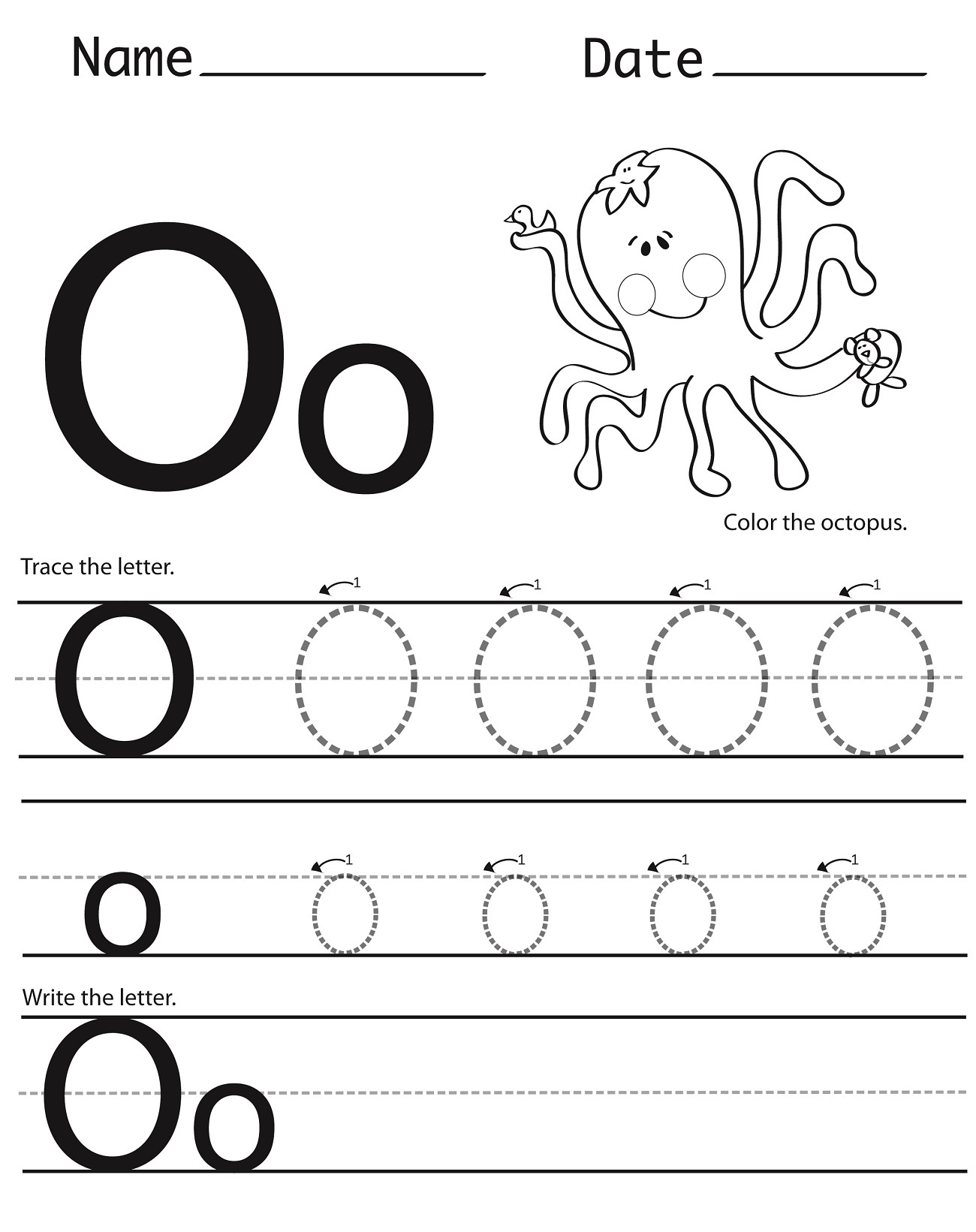 Tracing Letter O Worksheets | Activity Shelter for Letter O Tracing Printable