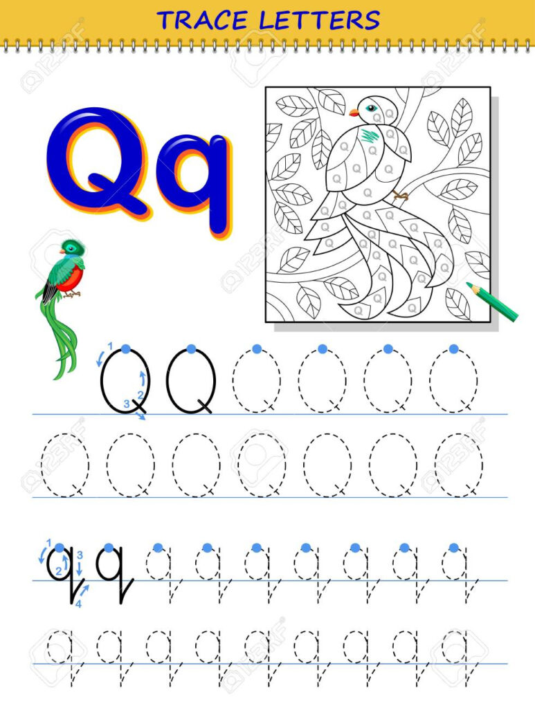 Tracing Letter Q For Study Alphabet. Printable Worksheet For.. Regarding Q Toys Alphabet Tracing