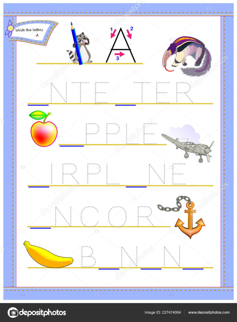 Tracing Letter Study English Alphabet Worksheet Kids Logic In Alphabet Tracing Puzzle
