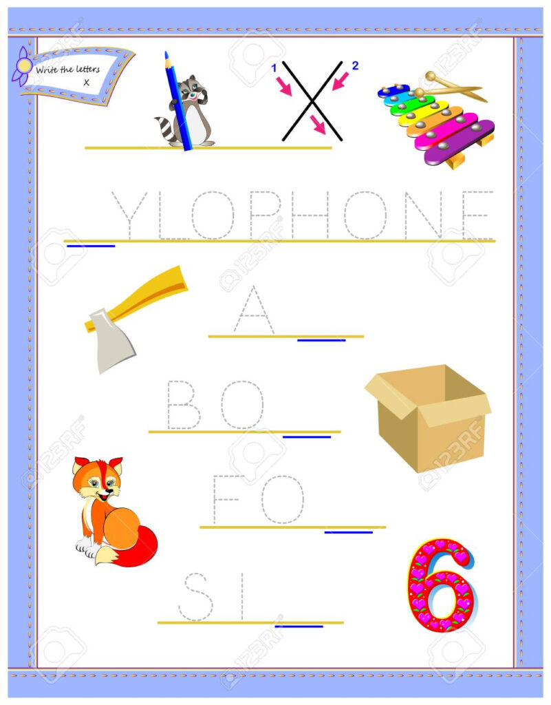 Tracing Letter X For Study English Alphabet. Printable Worksheet.. Within Alphabet Tracing Puzzle