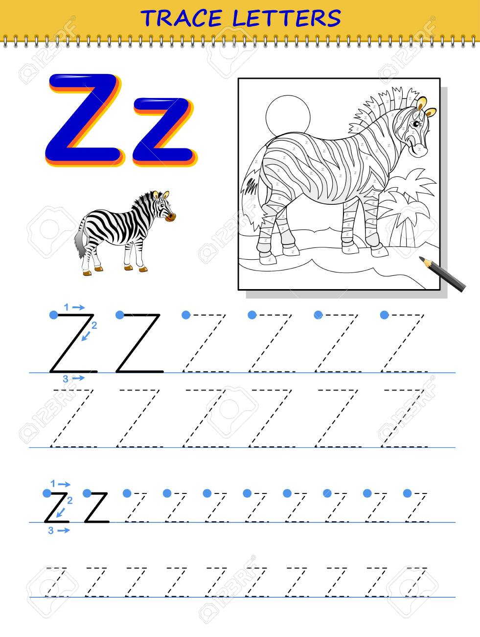 Tracing Letter Z For Study Alphabet. Printable Worksheet For.. intended for Letter Z Tracing Page