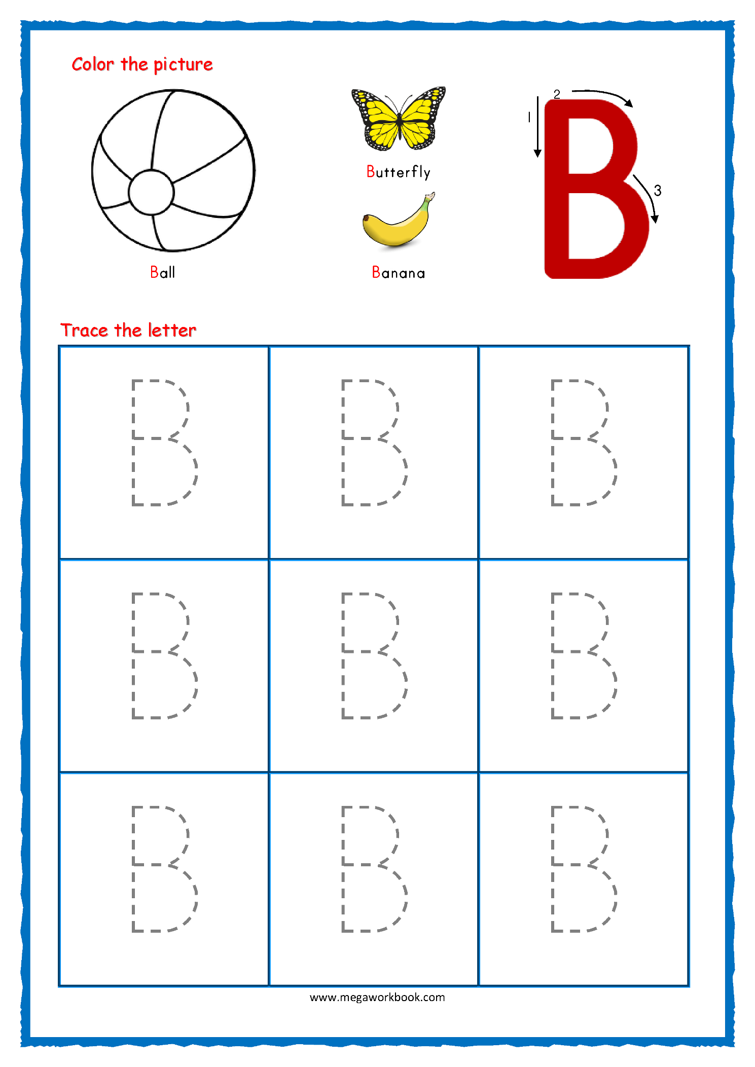 Tracing Letters - Alphabet Tracing - Capital Letters for Alphabet B Tracing