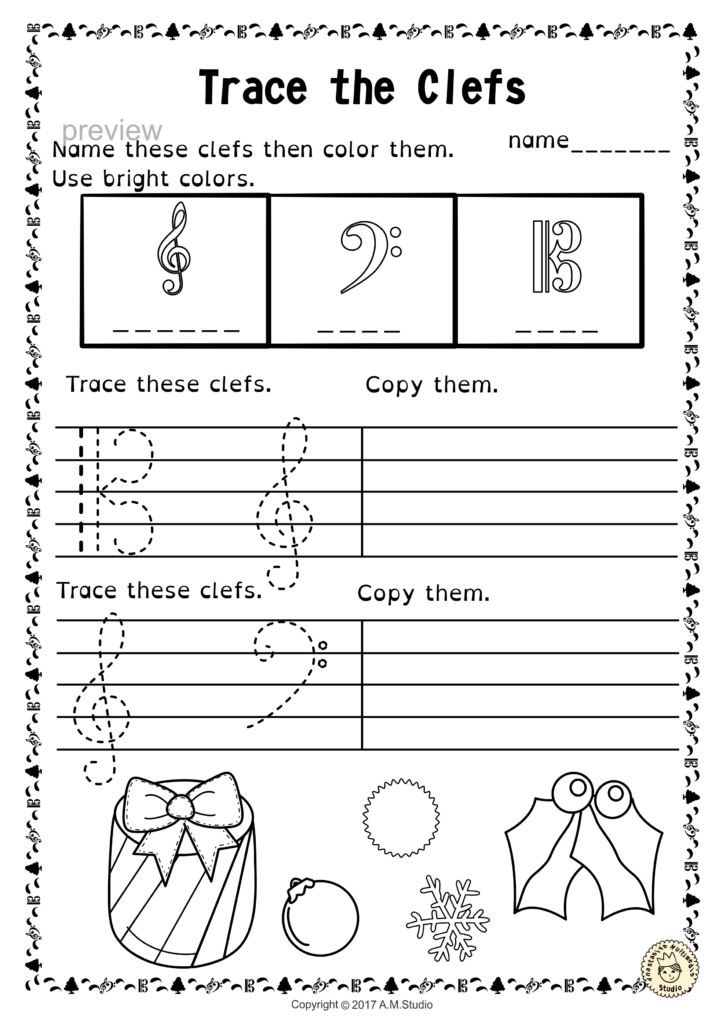 Tracing Music Notes Worksheets For Winter And Christmas Regarding Name Tracing And Copying Worksheets