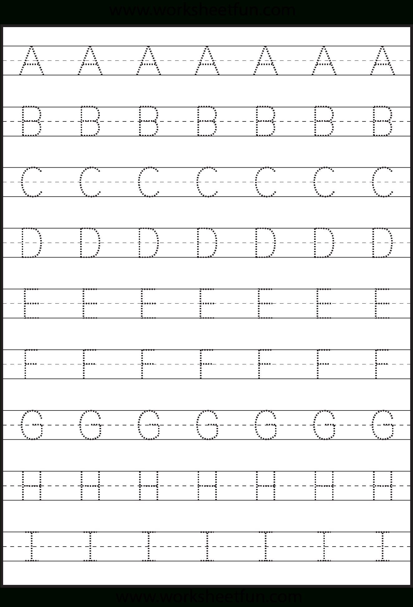 Tracing – Uppercase Letters – Capital Letters – 3 Worksheets for Alphabet Tracing Dots