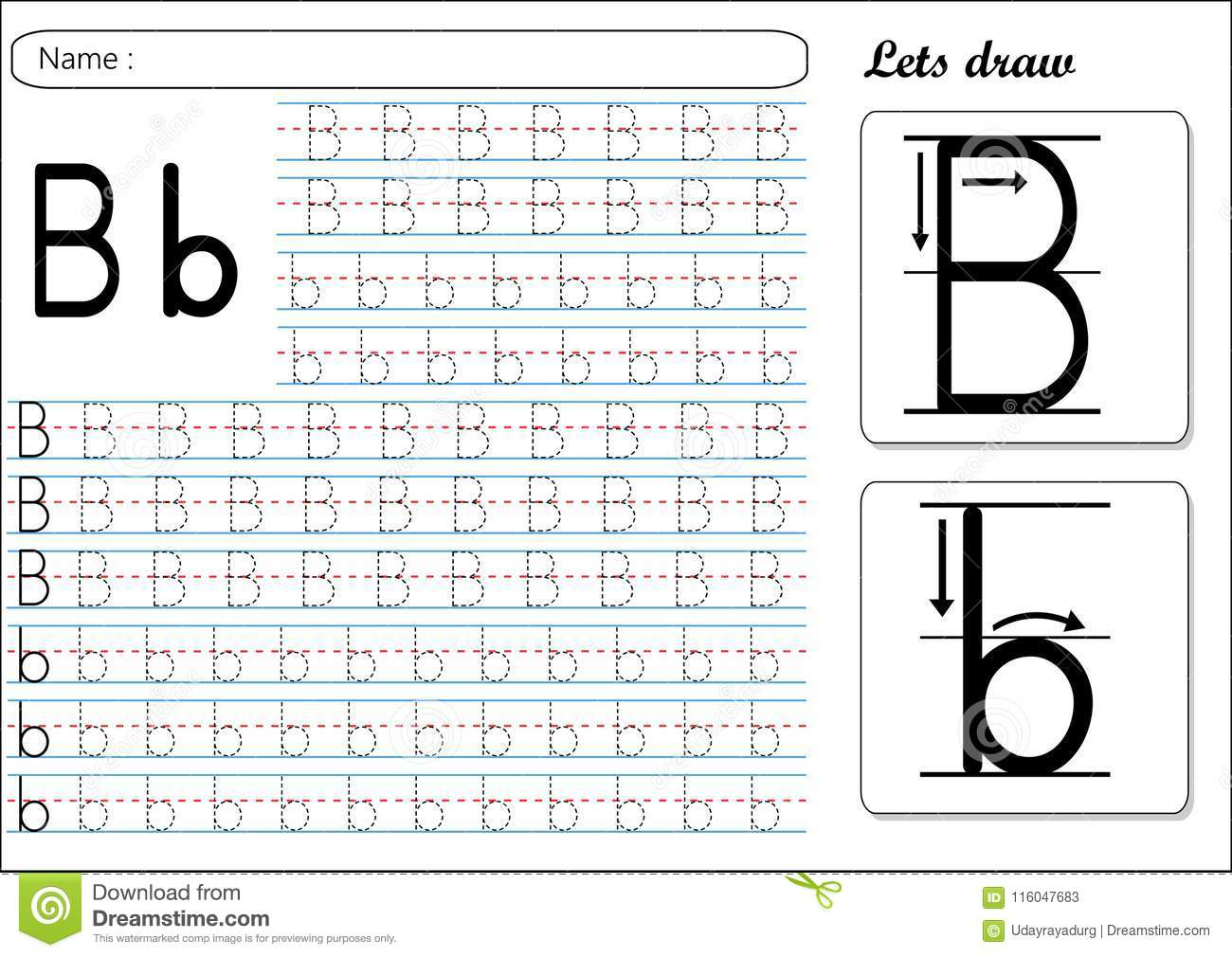 Tracing Worksheet -Bb Stock Vector. Illustration Of Early for Alphabet B Tracing