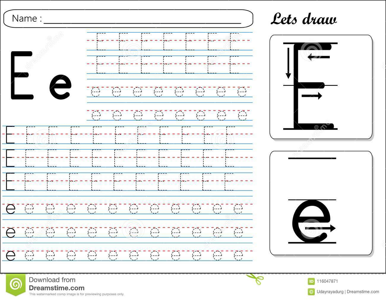 Tracing Worksheet -Ee Stock Vector. Illustration Of Cursive in Letter Tracing E