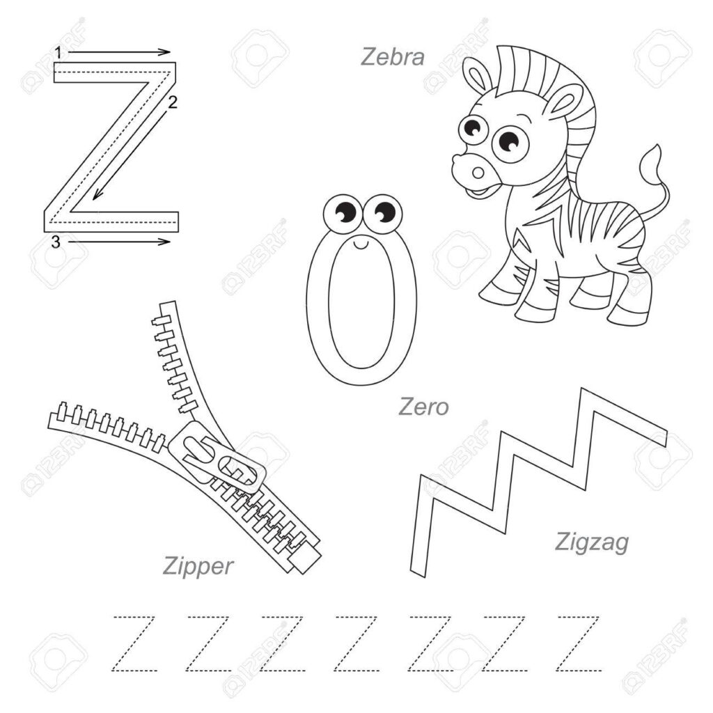 Tracing Worksheet For Children. Full English Alphabet From A.. Intended For Letter Z Tracing Page