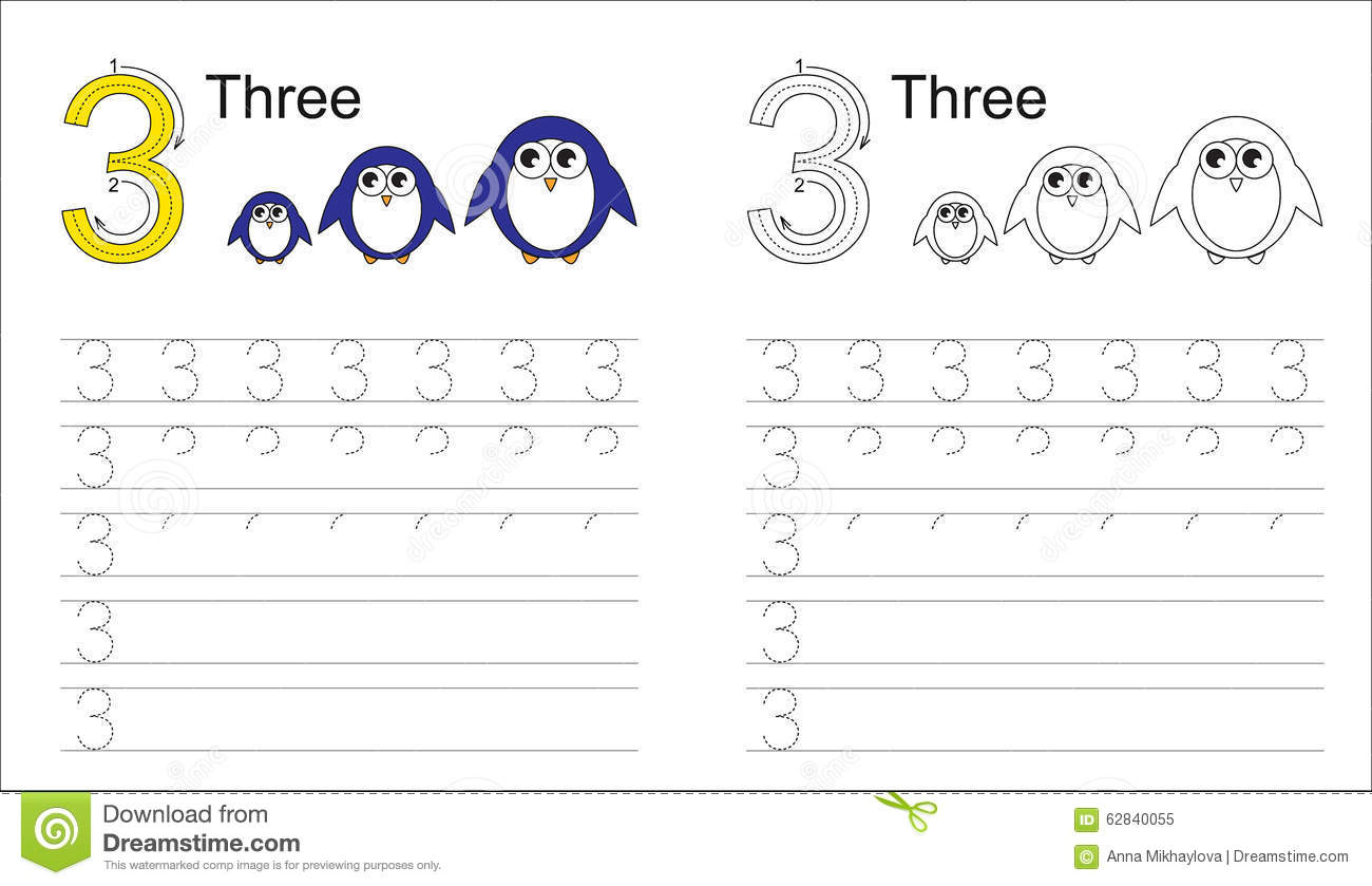 Tracing Worksheet For Letter 3 Stock Vector - Illustration pertaining to Letter 3 Tracing