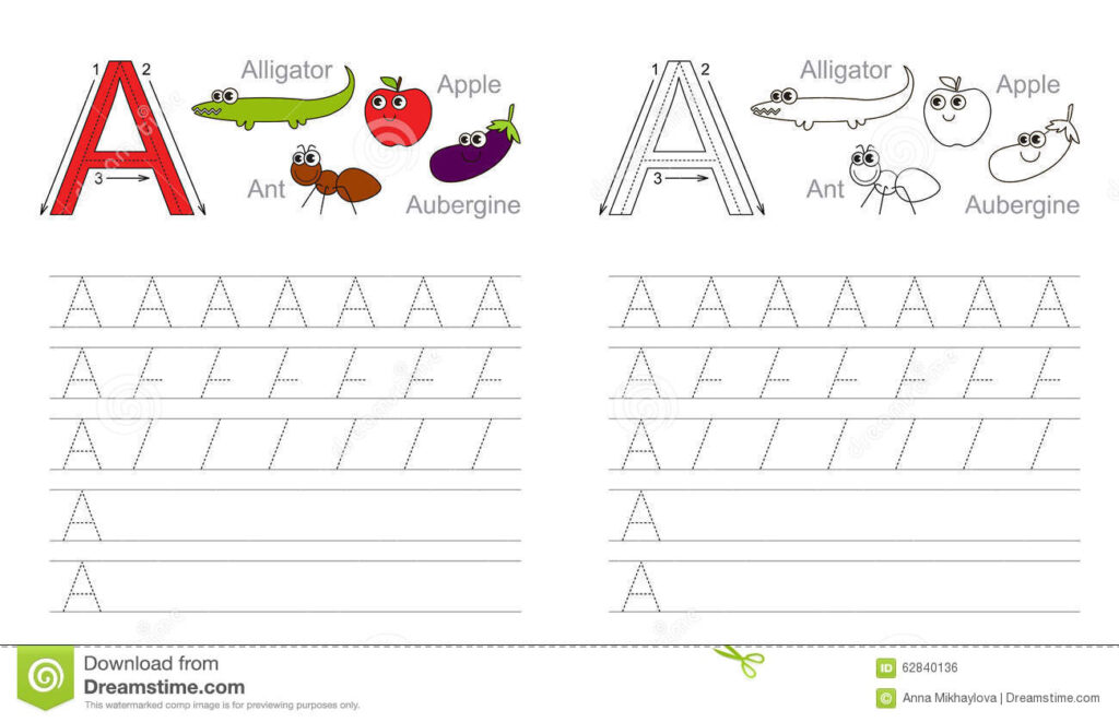Tracing Worksheet For Letter A Stock Vector   Illustration Throughout Alphabet Tracing Exercises