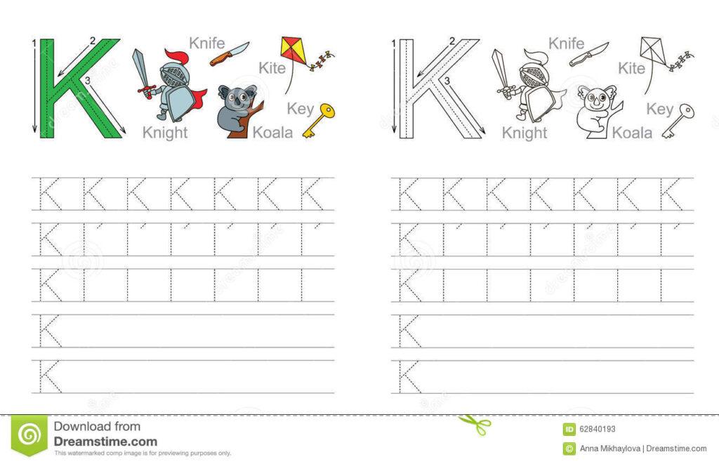 Tracing Worksheet For Letter K Stock Vector   Illustration Regarding K Letter Tracing