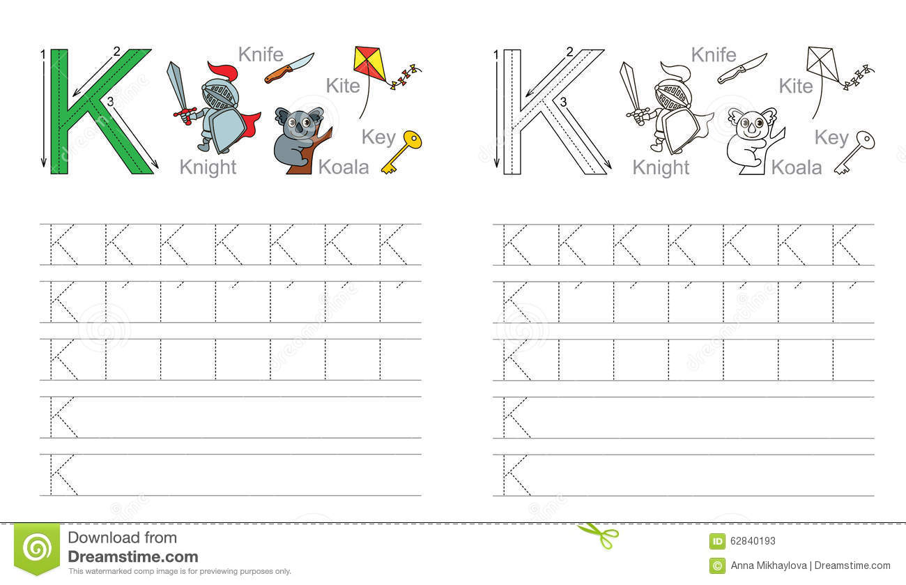 Tracing Worksheet For Letter K Stock Vector - Illustration regarding K Letter Tracing