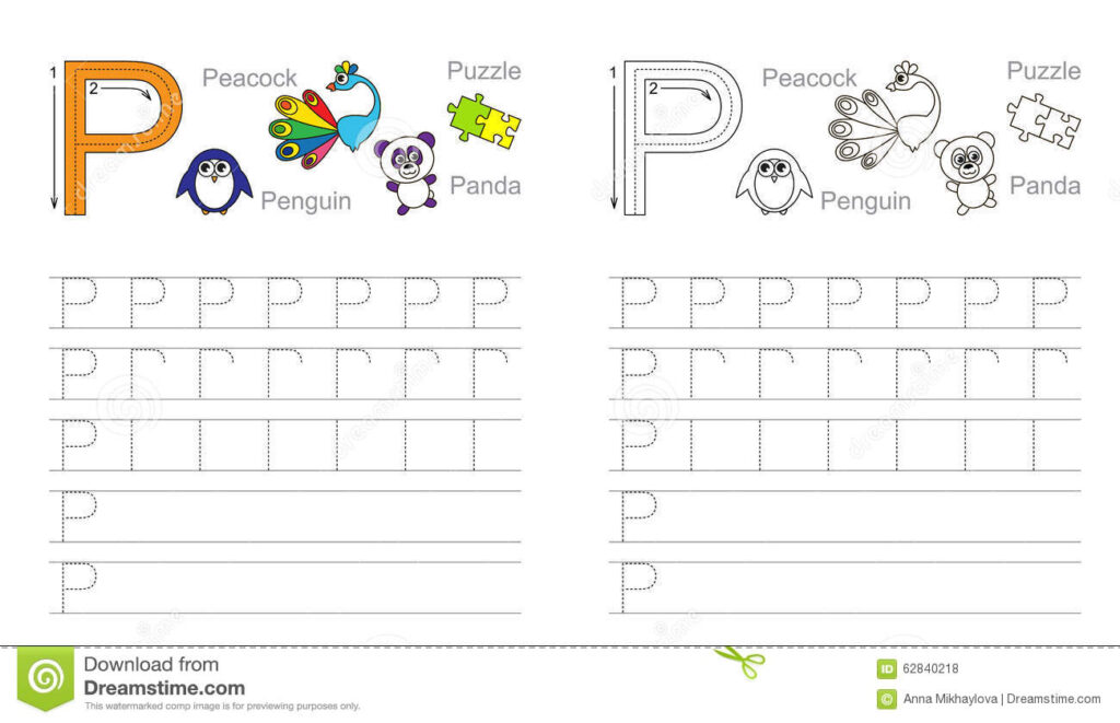 Tracing Worksheet For Letter P Stock Vector   Illustration Regarding Letter P Tracing Page