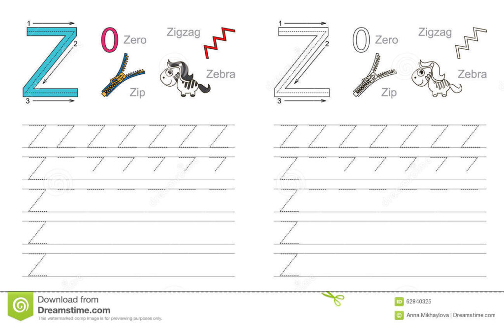 Tracing Worksheet For Letter Z Stock Vector   Illustration In Letter Z Tracing Worksheets